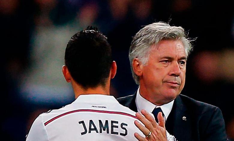 Carlo Ancelotti y James Rodríguez en el Real Madrid