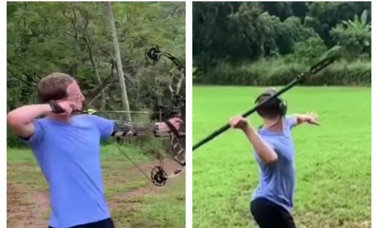 Mark Zuckerberg con arco y lanza