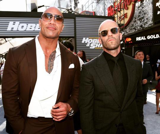 """La Roca y Jason Statham en el premiere de """"Hobbs & Shaw"""""""