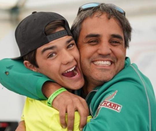 Juan Pablo Montoya y su hijo