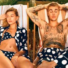 Justin Bieber y Hailey Baldwin tomando el sol