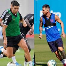 Lio Messi y Cristiano Ronaldo en sus entrenamientos