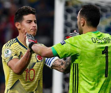 James Rodríguez y David Ospina en el Colombia Vs Chile - Copa América 2019